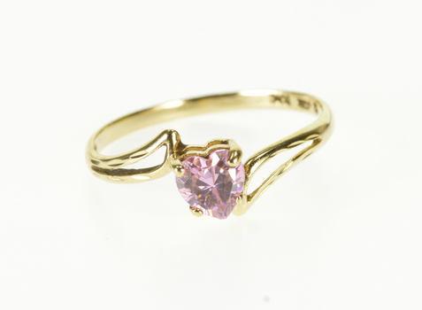 10K Pink Topaz Heart Cut Wavy Bypass Yellow Gold Ring, Size 6.5
