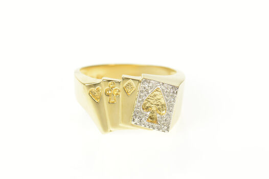10K Playing Cards Diamond Aces Suits Men's Yellow Gold Ring, Size 11