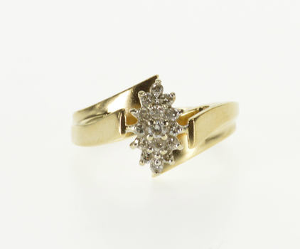 10K Pointed Oval Cluster Diamond Encrusted Yellow Gold Ring, Size 5.25