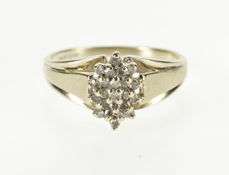 10K Pointed Oval Diamond Cluster Textured Design White Gold Ring, Size 7