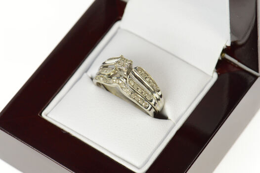 10K Princess Diamond Bridal Promise Engagement White Gold Ring, Size 6.25
