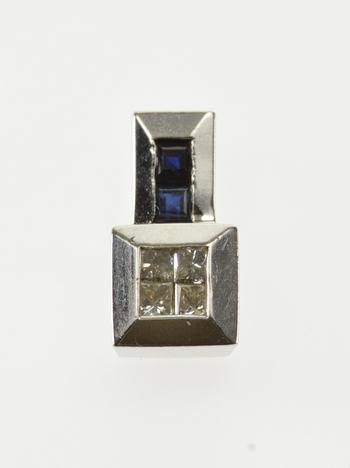 10K Princess Diamond Sapphire Geometric Squared White Gold Pendant