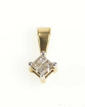 10K Princess Diamond Square Cluster Classic Yellow Gold Pendant