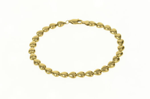 "10K Puffy Heart Link Love Symbol Chain Yellow Gold Bracelet 7"""