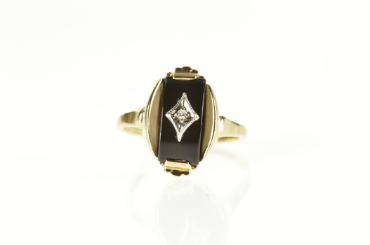 10K Retro Black Onyx Diamond Overlay Statement Yellow Gold Ring, Size 7
