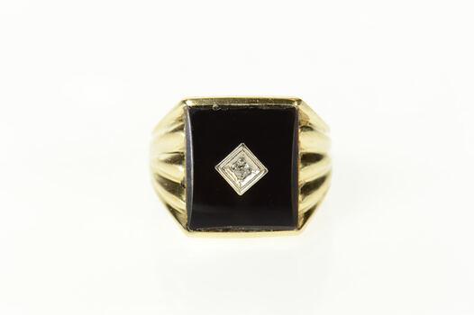 10K Retro Black Onyx Diamond Statement Yellow Gold Ring, Size 7