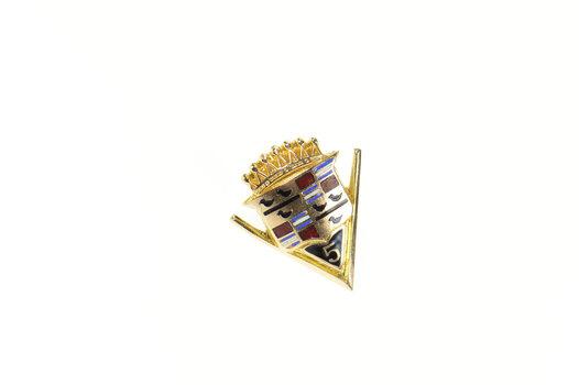 10K Retro Cadillac Enamel 5 Years Lapel Yellow Gold Pin/Brooch