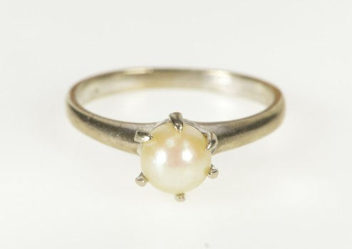 10K Retro Classic Pearl Inset Solitaire Engagement White Gold Ring, Size 5