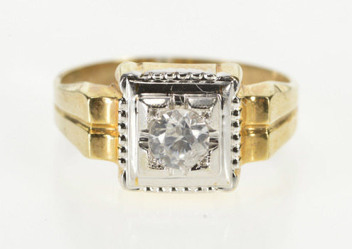 10K Retro Cubic Zirconia Inset Men's Ornate Fashion Yellow Gold Ring, Size 12