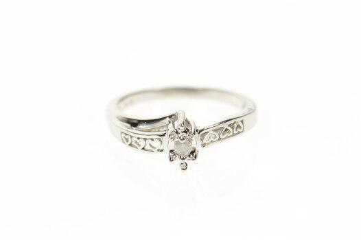10K Retro Diamond Classic Promise Engagement White Gold Ring, Size 7