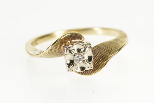 10K Retro Diamond Crosshatch Texture Engagement Yellow Gold Ring, Size 5.75