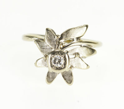 10K Retro Diamond Inset Floral Engagement White Gold Ring, Size 3.75