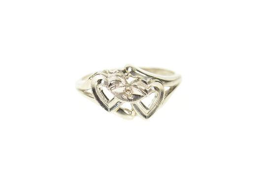 10K Retro Diamond Inset Interlocking Heart White Gold Ring, Size 5.75