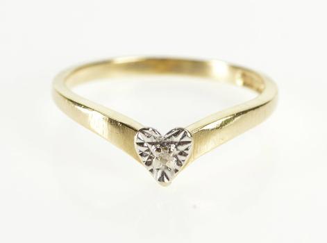 10K Retro Diamond Inset Pointed Chevron Promise Yellow Gold Ring, Size 6.5
