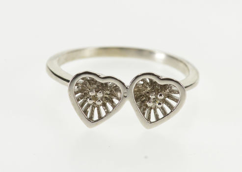 10K Retro Diamond Inset Two Heart Promise White Gold Ring, Size 5.25