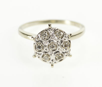 10K Retro Diamond Round Cluster Fashion White Gold Ring, Size 6.5
