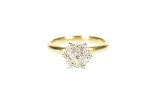 10K Retro Diamond Star Flower Cluster Statement Yellow Gold Ring, Size 7.5