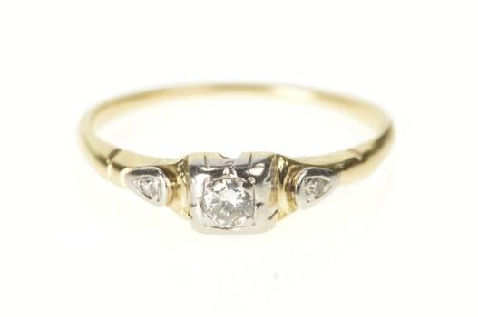 10K Retro Diamond Three Stone Promise Engagement Yellow Gold Ring, Size 6.25