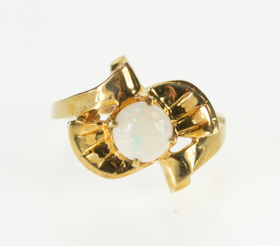 10K Retro Freeform Syn. Opal Freeform Bypass Yellow Gold Ring, Size 6.5