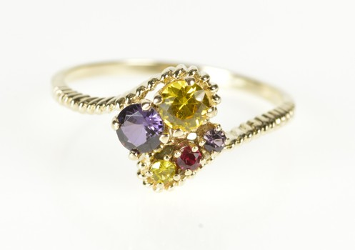 10K Retro Gemstone Cluster Rope Bypass Yellow Gold Ring, Size 8.25