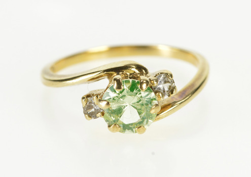 10K Retro Lemon Cubic Zirconia Three Stone Bypass Yellow Gold Ring, Size 6.25