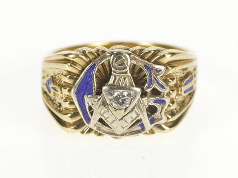 10K Retro Masonic Motif Diamond G Enamel Men's Yellow Gold Ring, Size 9