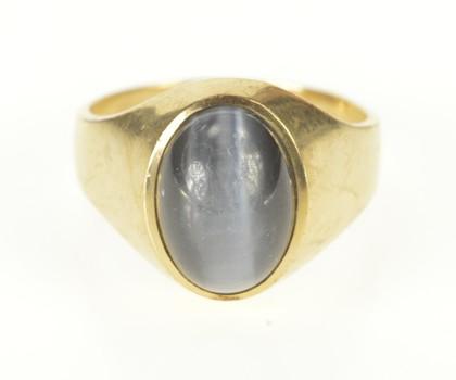 10K Retro Men's Sim. Grey Cat's Eye Cabochon Yellow Gold Ring, Size 10.25