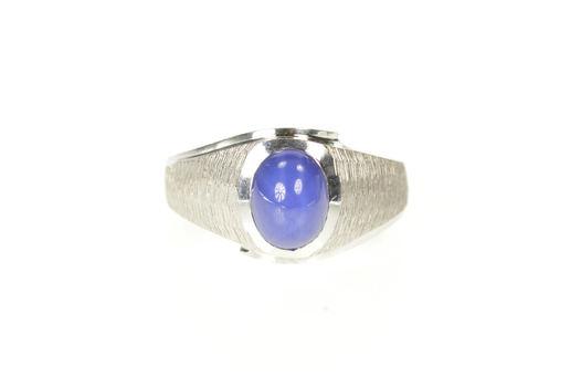 10K Retro Men's Syn. Blue Star Sapphire Statement White Gold Ring, Size 9.25