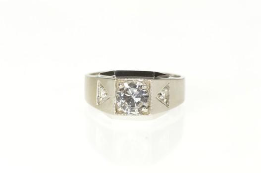 10K Retro Men's Three Stone Cubic Zirconia White Gold Ring, Size 10.75