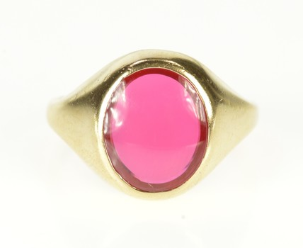 10K Retro Oval Flush Syn. Ruby Statement Yellow Gold Ring, Size 6