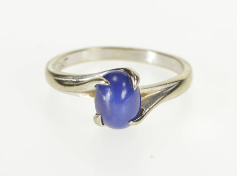 10K Retro Oval Syn. Blue Star Sapphire Bypass White Gold Ring, Size 6