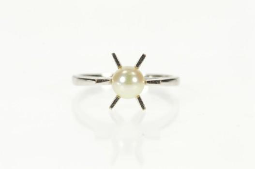 10K Retro Pearl Burst Bar Design Statement White Gold Ring, Size 6