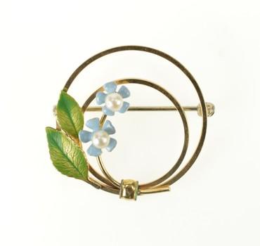 10K Retro Pearl Flower Blue & Green Enamel Yellow Gold Pin/Brooch