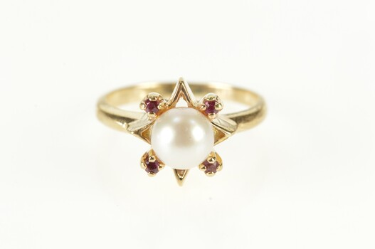 10K Retro Pearl Ruby Star Cluster Statement Yellow Gold Ring, Size 4.75