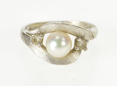 10K Retro Pearl Spinel Accent Ornate Bypass White Gold Ring, Size 5.75