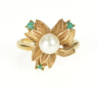 10K Retro Pearl Turquoise Flower Blossom Cocktail Yellow Gold Ring, Size 6
