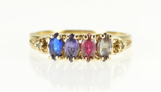 10K Retro Rainbow Stone Diamond Statement Band Yellow Gold Ring, Size 9.25