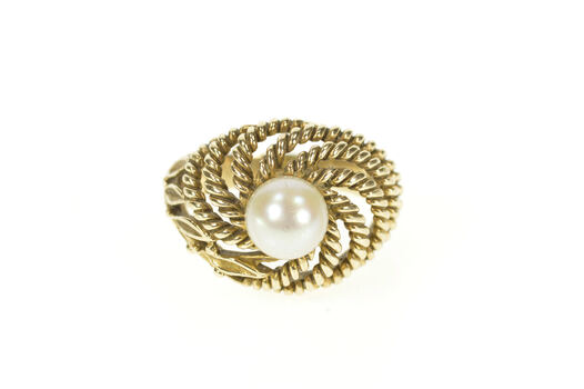 10K Retro Rope Leaf Twist Pearl Cocktail Statement Yellow Gold Ring, Size 4.5