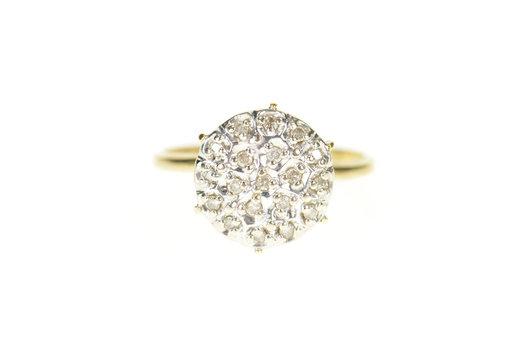 10K Retro Round Raised Diamond Cluster Statement Yellow Gold Ring, Size 7