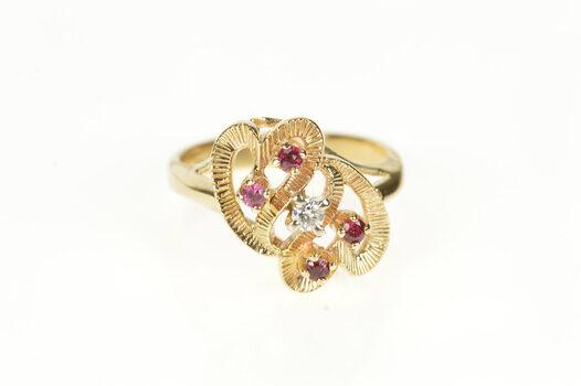 10K Retro Ruby Diamond Wavy Heart Statement Yellow Gold Ring, Size 5.75