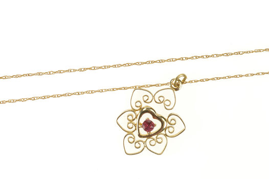 10K Retro Ruby Heart Scroll Filigree Chain Yellow Gold Necklace 18""
