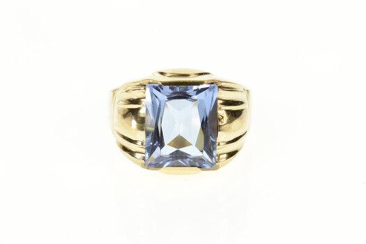 10K Retro Sim. Tanzanite Squared Men's Statement Yellow Gold Ring, Size 10