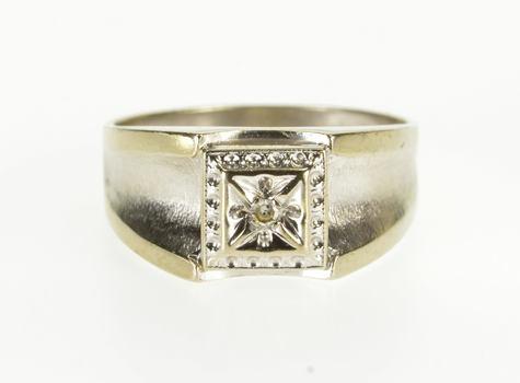 10K Retro Squared Diamond Concave Men's Wedding White Gold Ring, Size 10.25
