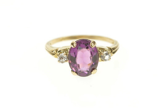 10K Retro Syn. Amethyst CZ Accent Statement Yellow Gold Ring, Size 6.75