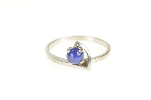 10K Retro Syn. Blue Star Sapphire Unique White Gold Ring, Size 7.25