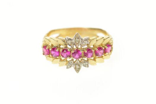 10K Retro Syn. Ruby Diamond Floral Petal Band Yellow Gold Ring, Size 9.25