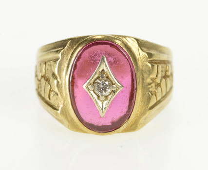 10K Retro Syn. Ruby Diamond Textured Nugget Yellow Gold Ring, Size 8.5