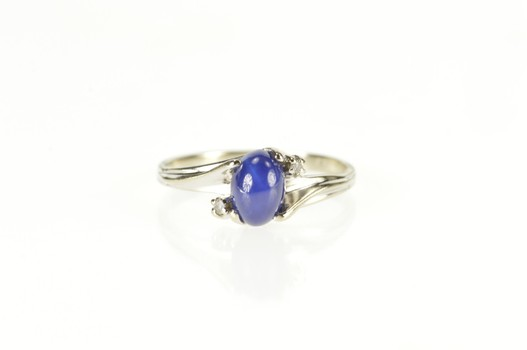 10K Retro Syn. Star Sapphire CZ Accent Bypass White Gold Ring, Size 5.75