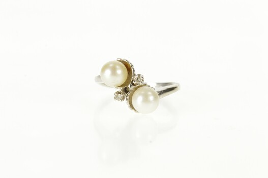10K Retro Two Pearl Diamond Accent Bypass White Gold Ring, Size 5.75