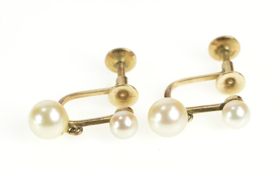 10K Retro Two Pearl Screw Back Classic Fashion Yellow Gold Earrings